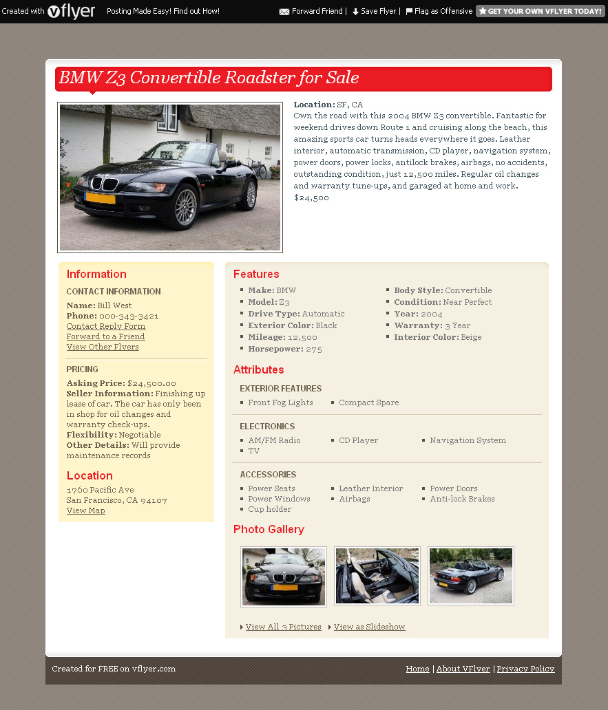 vFlyer delivers your classified ad everywhere VentureBeat – Car for Sale Flyer