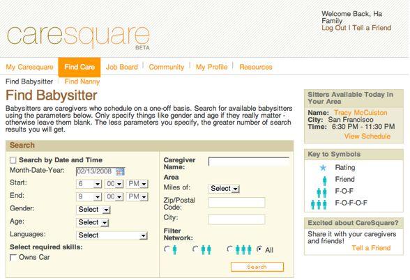 caresquare creates social network for babysitting venturebeat