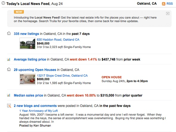 Everybody loves news feeds, even real estate sites like Trulia