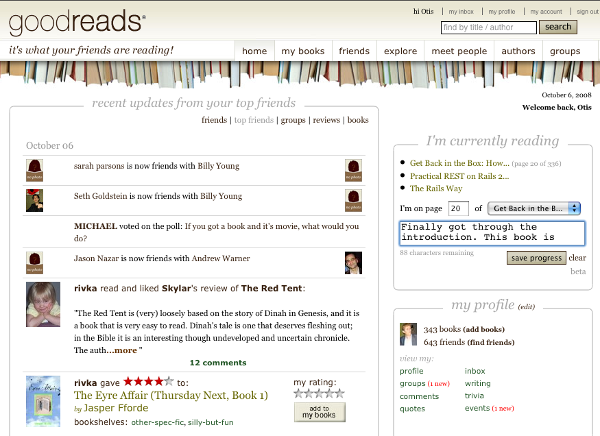 Goodreads adds Twitter-like status updates for book readers