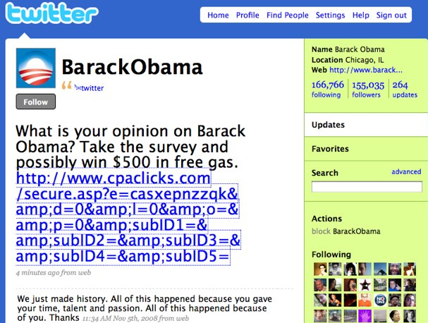 Twitter: Gone phishing? Obama, Britney, and Facebook