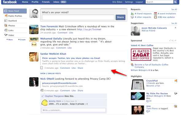 Facebook home page old