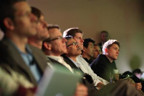The audience listens with rapt attention to Al Gore at the GreenBeat 2009 closing keynote