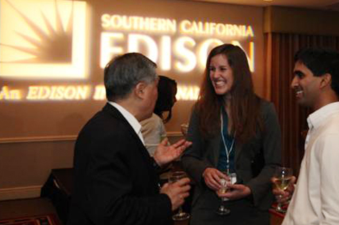 Panel moderator and VentureBeat writer Camille Ricketts (center) at the Southern California Edison-sponsored networking reception