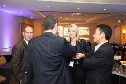 Cisco Systems Smart Grid guru Laura Ipsen met with conference attendees during the Southern California Edison-sponsored GreenBeat cocktail reception on Thursday night