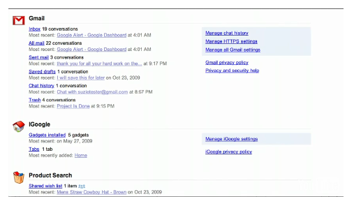 Google Dashboard: All Your Data That Are Belong To Us