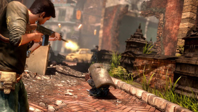 Battle scene in Uncharted 2: Among Thieves.