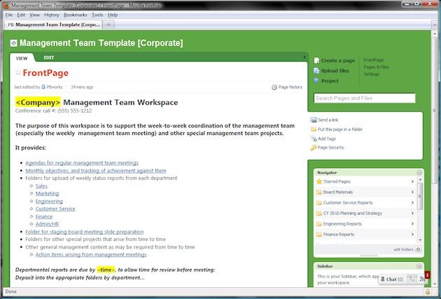 management team template