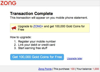 Zong's credit-card based mobile payments system is growing fast