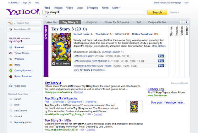 Yahoo Search Movies Screenshot
