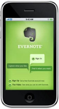 Evernote iPhone app