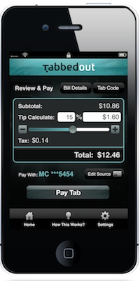 tabbedout payment screen