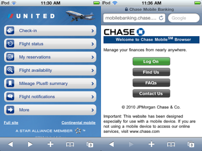 United Airlines and Chase Bank mobile sites