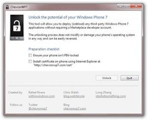 ChevronWP7 Windows Phone 7 jailbreak tool