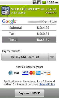 Google lets users bill Android app purchases to their AT&T
