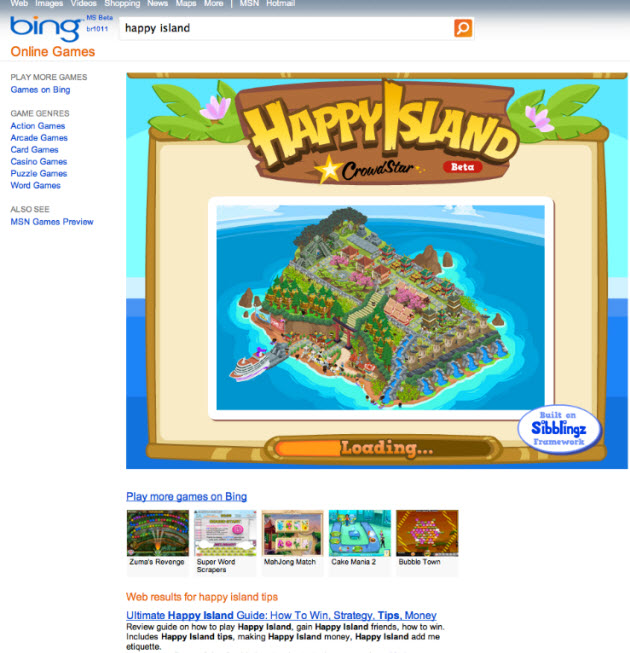 Sibblingz puts social games inside Microsoft's Bing search engine