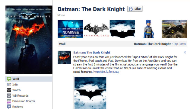 Warner Bros  lets you watch movies within Facebook fan pages