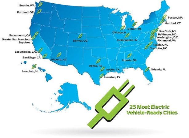 25 most electric vehicle ready cities