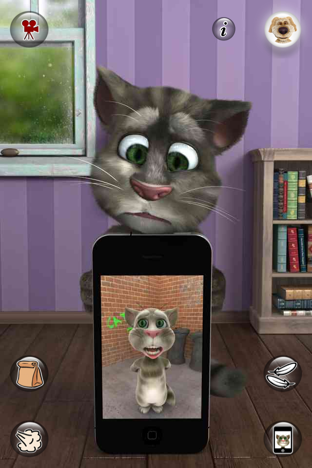 Talking Tom 2 sees himself on screen