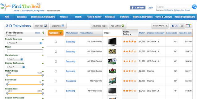 FindTheBest's comparison pages offer tables you can filter and sort.
