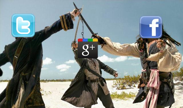 Google Plus Facebook Twitter Battle
