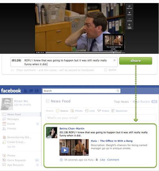Hulu's Facebook comment feature