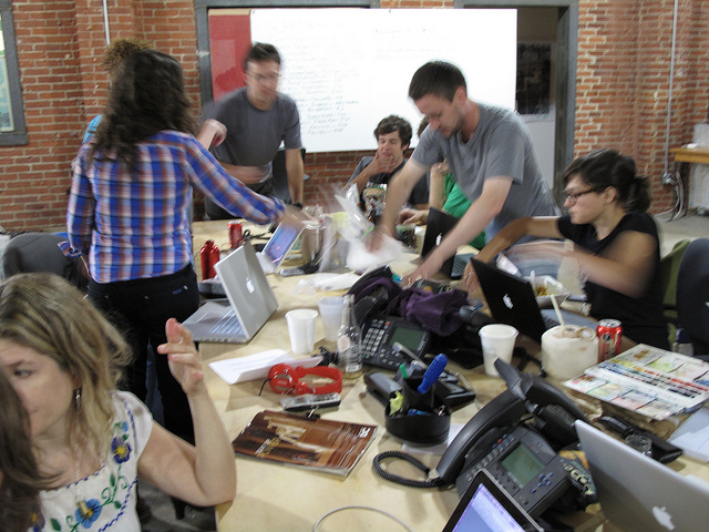 Longshot magazine team members hard at work, August 2010