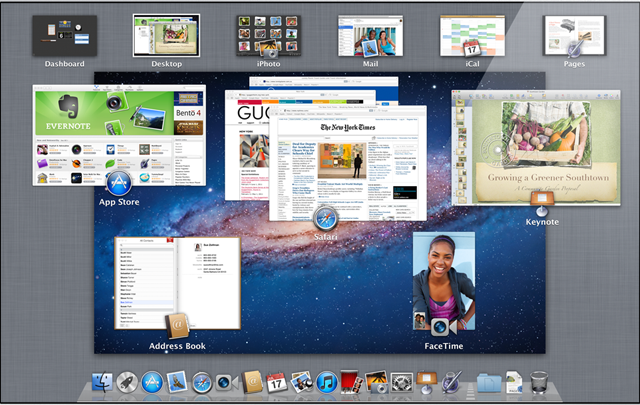 Screenshot of Apple Mac OS X Lion Mission Control