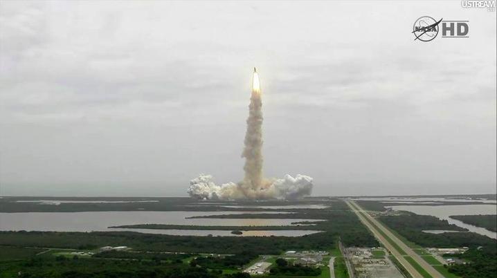 Screenshot of space shuttle launch from NASA TV