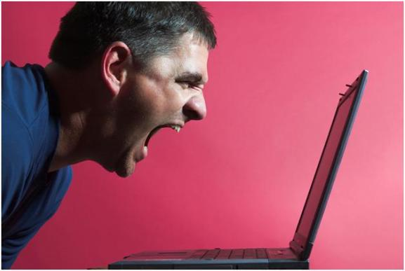screaming computer user