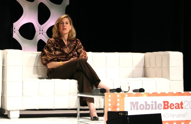Google's vice president for commerce Stephanie Tilenius, onstage at MobileBeat 2011.