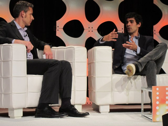Yelp founder Jeremy Stoppelman (right) speaks with VentureBeat's Matt Marshall.