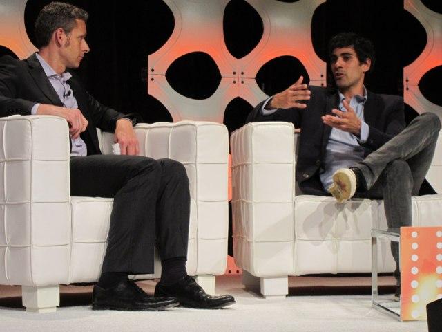 Yelp founder Jeremy Stoppelman (right) speaks with VentureBeat's Matt Marshall.