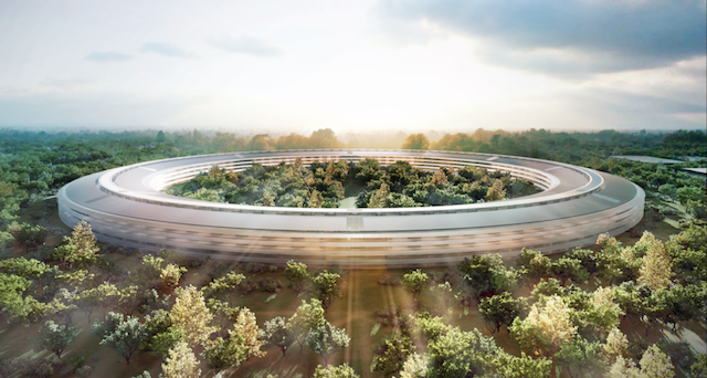 Rendering of Apple's proposed flying saucer-like Cupertino campus