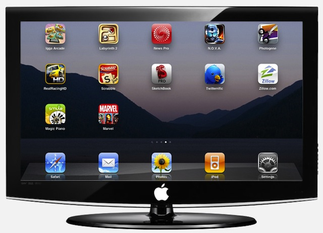 Concept illustration showing what an Apple television might look like