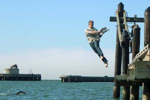 Dylan Tweney jumping into the bay