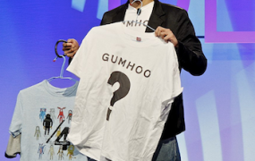 Gumhoo demonstrator onstage at DEMO