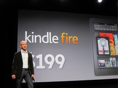 Amazon CEO Jeff Bezos introducing the Kindle Fire