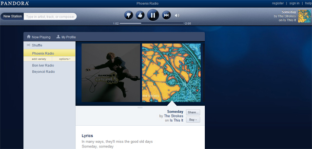 Pandora launches slick HTML5 site with free unlimited