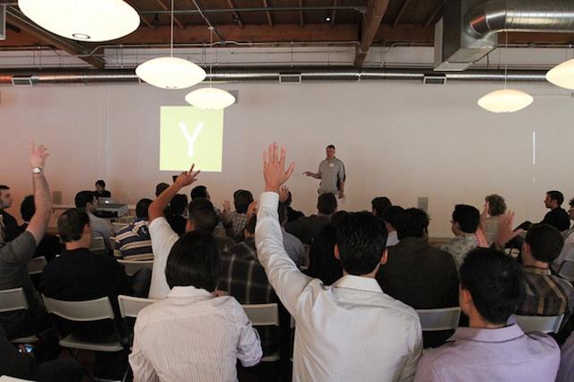 Paul Graham of Y Combinator addresses the crowd