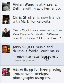 Image showing the new Facebook Ticker