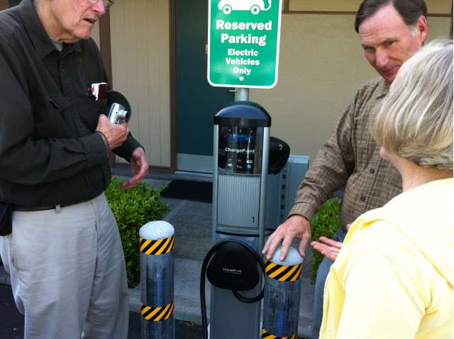 Scenes from dedication of electric-car charging station at Creekside Inn, Palo Alto, CA
