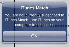 iTunes Match notification