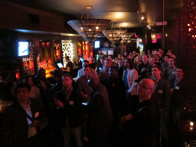 The crowd at VentureBeat's startup night at Katra Lounge, NYC