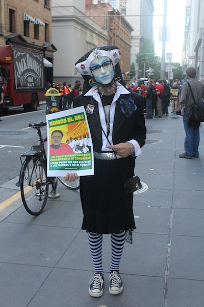Costumed Occupy SF protestor