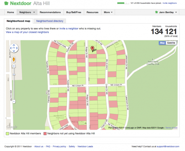 Nextdoor map page
