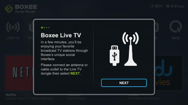 Boxee Box Live TV screen 1