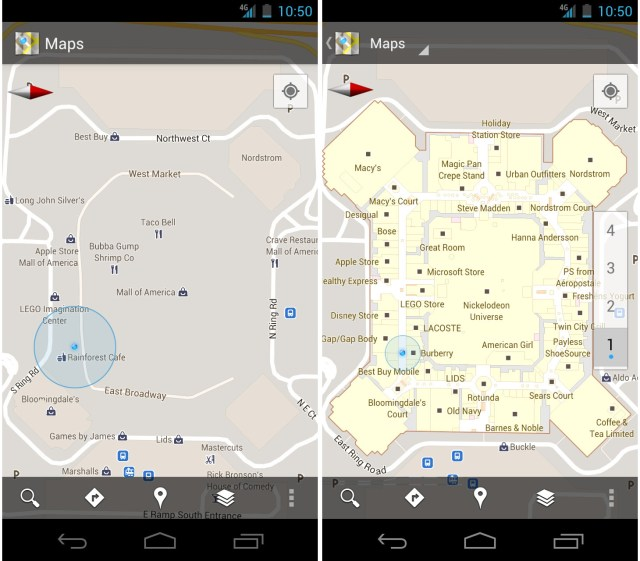 Google Maps 6.0 on Android, displaying interior
