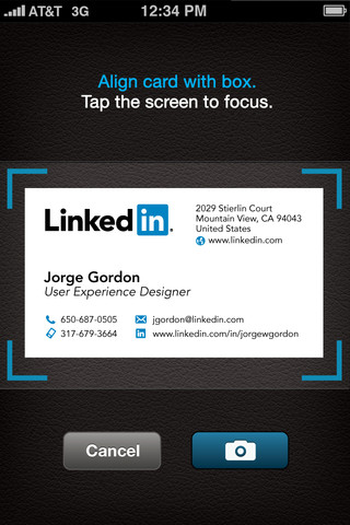 New cardmunch iphone app converts business cards into linkedin professional social network linkedin launched a new version of its cardmunch application for the iphone today which promises to help you make sense of all reheart Gallery
