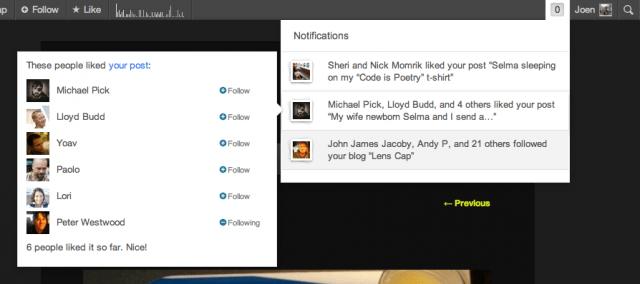 WordPress notifications open